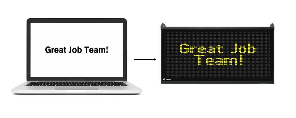 Create message on PC that displays on XL screen