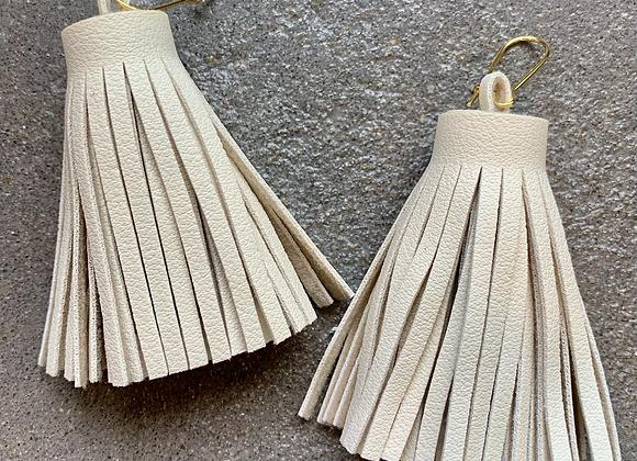 Neutral Leather Tassels (Ecru)