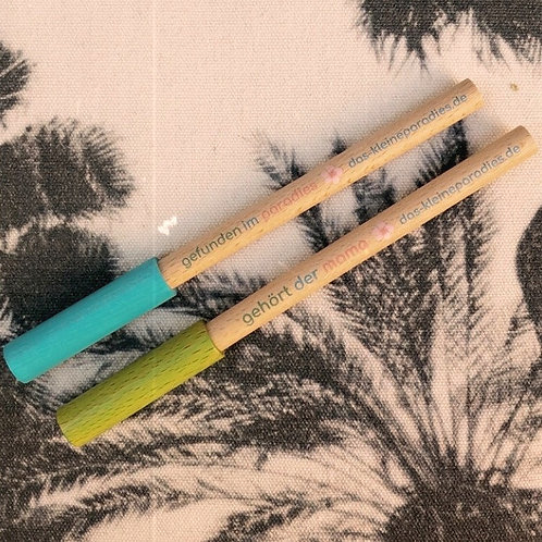 Holzkugelschreiber mit farbigem Deckel - zum mitnehmen