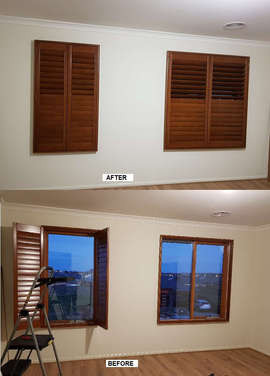 Stained Plantation Shutters done by Maje