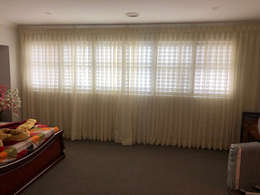 Sheer Curtains with plantation shutters