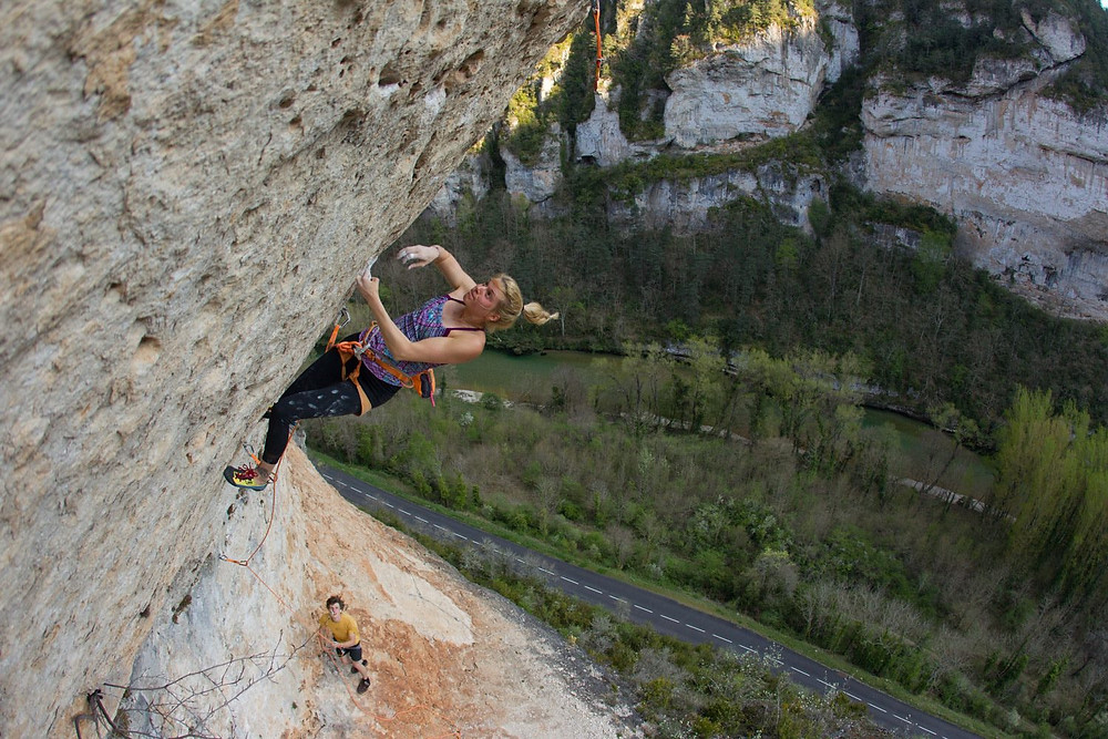 Lena sending the classic 'Sceptre d'Ottokar' 8B/+ at Tarn crag one month ago during her trip to South of France