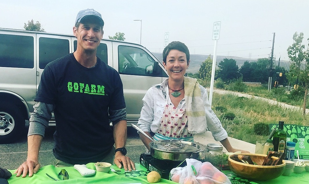 Jay Potasnik and Katherine Sumner hosting a sustainability and cooking demo at GoFarm distribution!