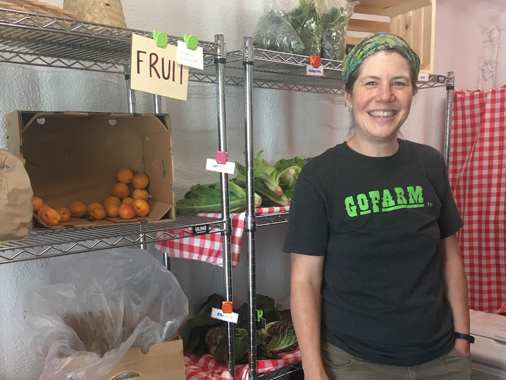 Jess Soulis preparing for Local Food Share distribution in Arvada