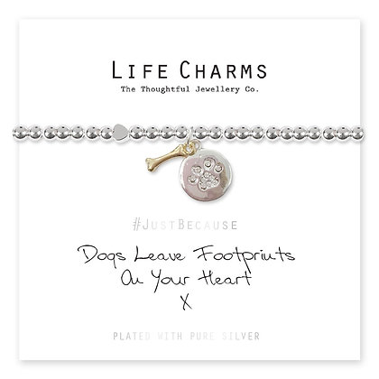 Life Charms Bracelet: Dogs Leave Footprints On Your Heart