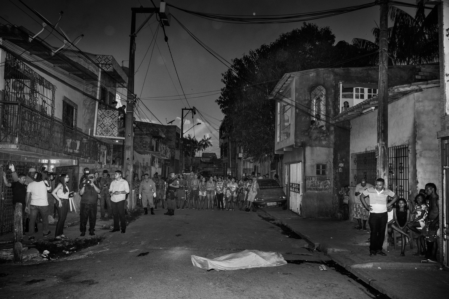 The crime scene of an homicide in Guama, one of the most violent neighborhood of Belem. According to police officers the man was shot to death for drug debts.