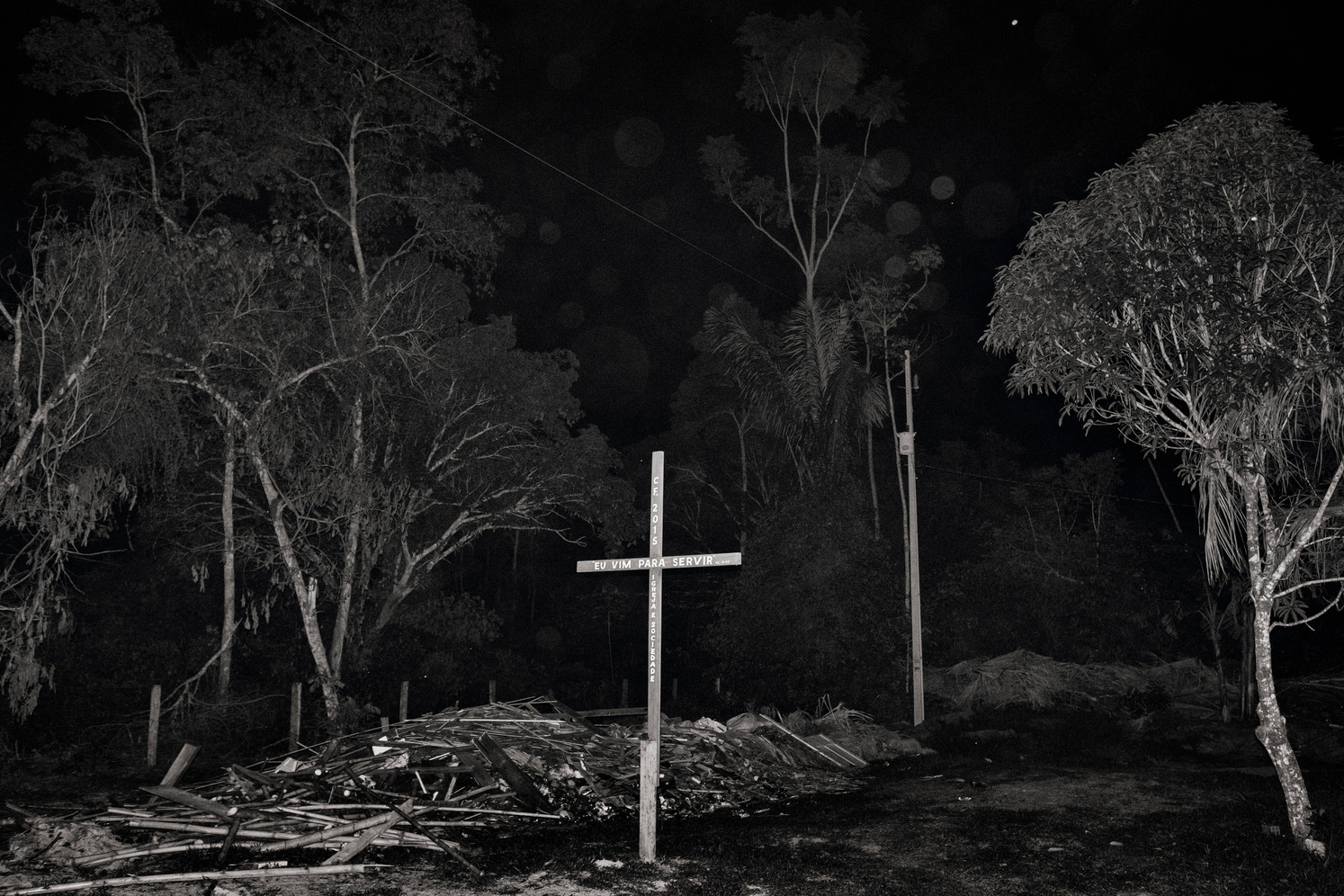 A cross belonging to an evangelical church is found outside the city of Machadinho do Oeste in Rondonia.