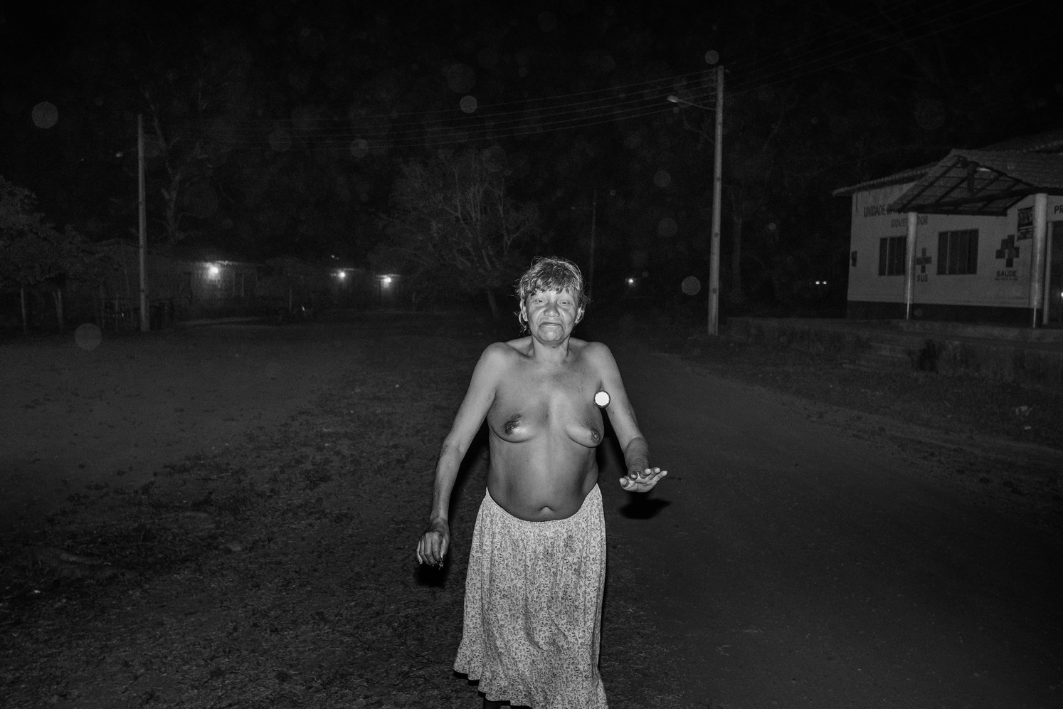 A drunk tribewoman in the Gaviao's village inside the Governador indigenous land.