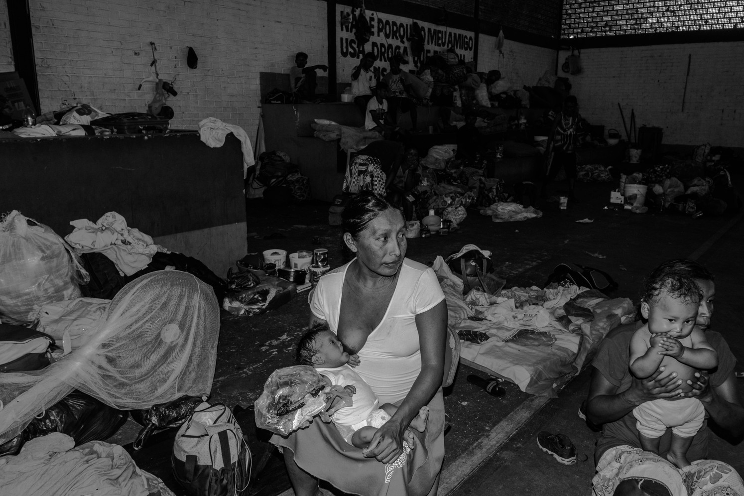 Indigenous Warao people, fleeing hunger in Venezuela, are living in a shelter on the outskirts of Boa Vista, Brazil, in the heart of the Amazon. The Warao are fled hunger in Venezuela to journey to Brazil. The number of Venezuelan women seeking care at Roraima's maternity hospital almost doubled in 2016 and 2017, to 807 and 825.