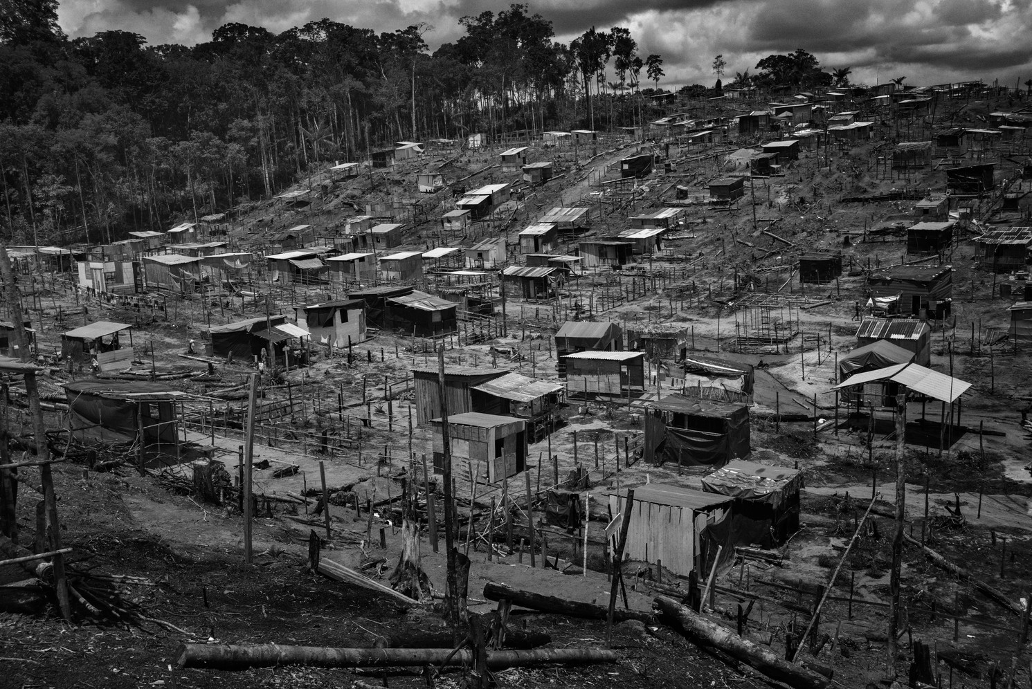 Hillside view of the Monte Horebe squatter's community in Manaus. The richest and most populous city of the Brazilian Amazon, every year, Manaus attracts thousands of migrants. Many are fleeing rural poverty and poor public services of isolated interior towns but the city has an enormous housing deficit and as a result, the poorest often end up living in shantytowns on the city's forested outskirts. Such communities are typically controlled by organized crime gangs and with no environmental oversight, cause deforestation and pollute local rivers.