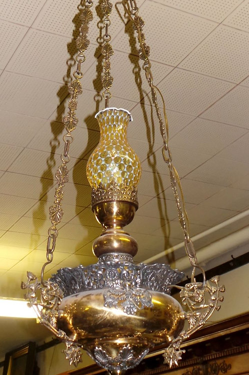 Electric Converted Brass Hanging Oil Lamp