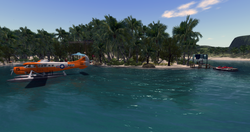 arrival by seaplane