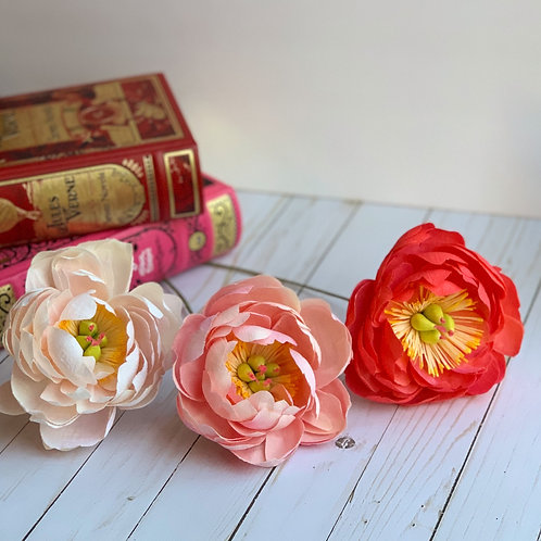 3 Faded coral charm peonies
