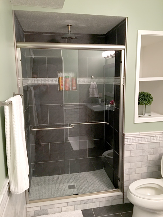 Gray Tiled Shower Area