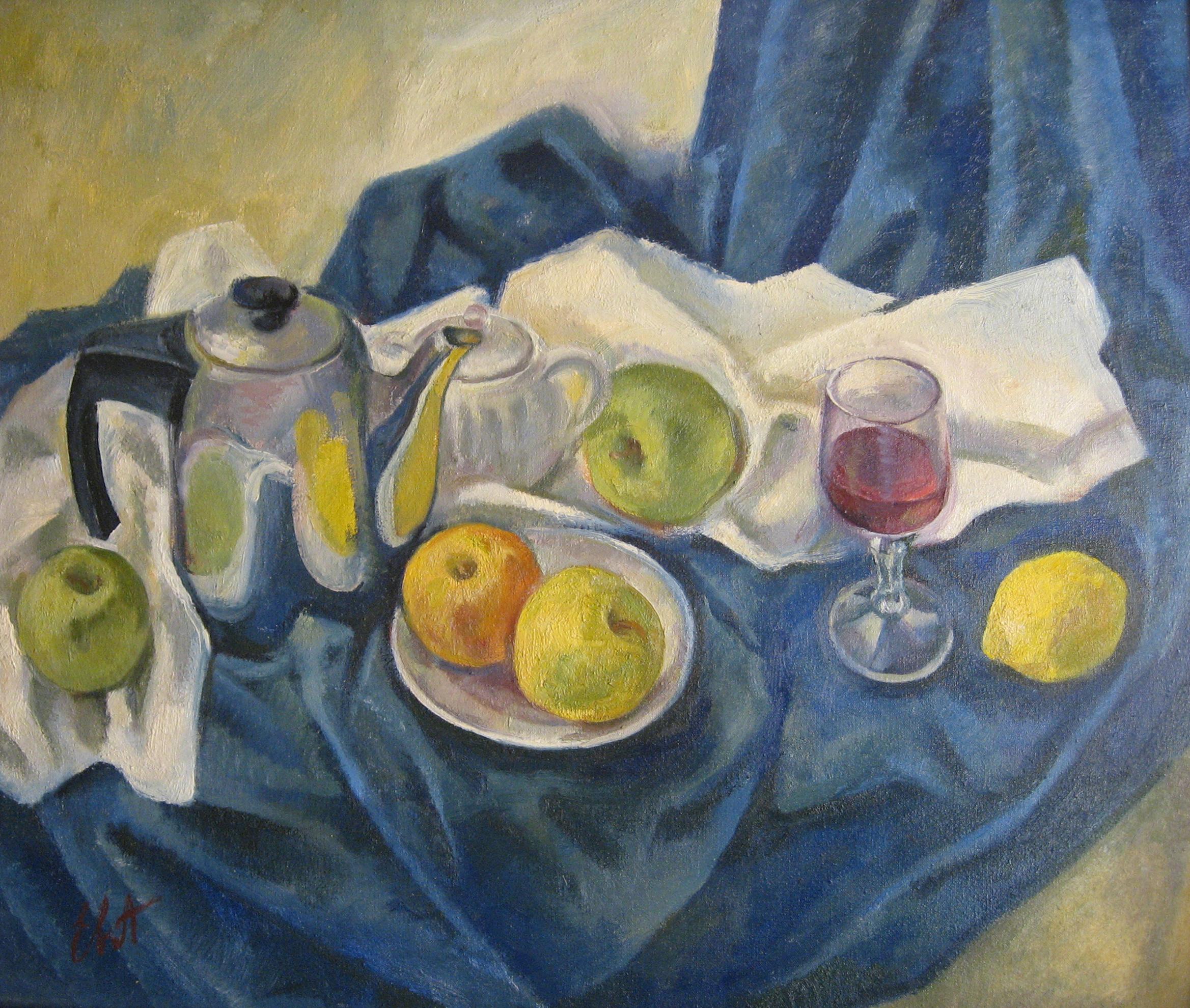 Натюрморт с яблоками и лимоном