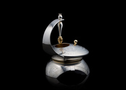 Silver Honey Dish With Dipper