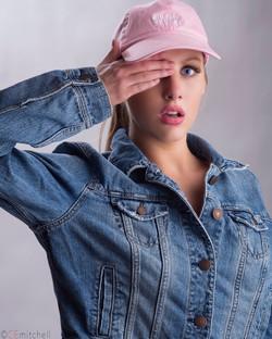 Blonde model and pink lip makeup