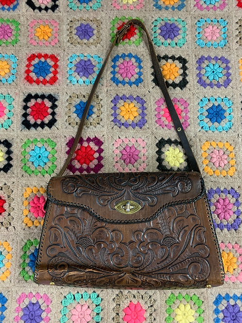 Dark Brown Tooled Leather Purse View 1