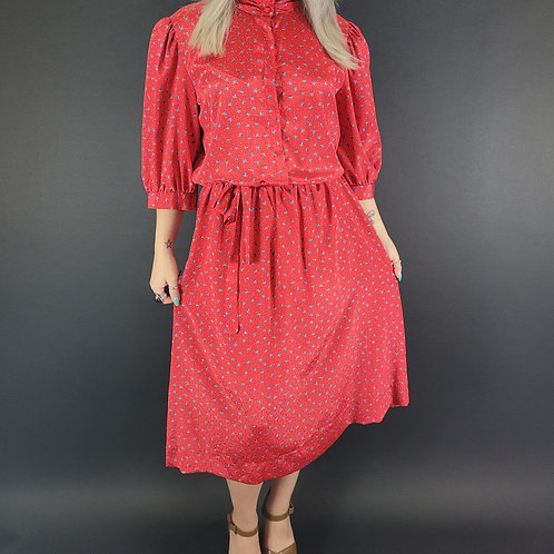 Red Ditsy Floral Print Midi Day Dress View 1