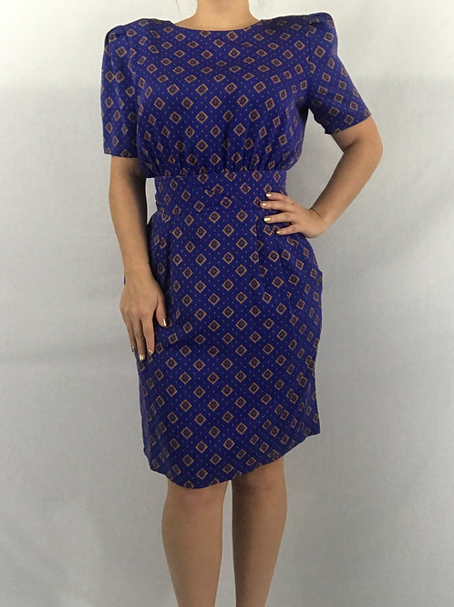 Purple-Blue Puff Shoulder Wiggle Dress View 1