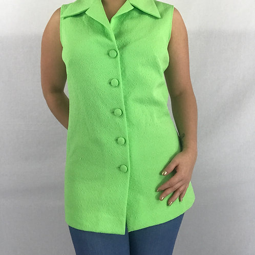 Bright Lime Green Button Up Sleeveless Top View 1