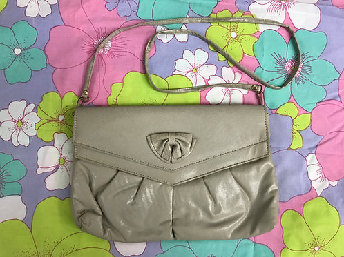 Taupe Faux Slouchy Leather Purse With Bow Accent View 1