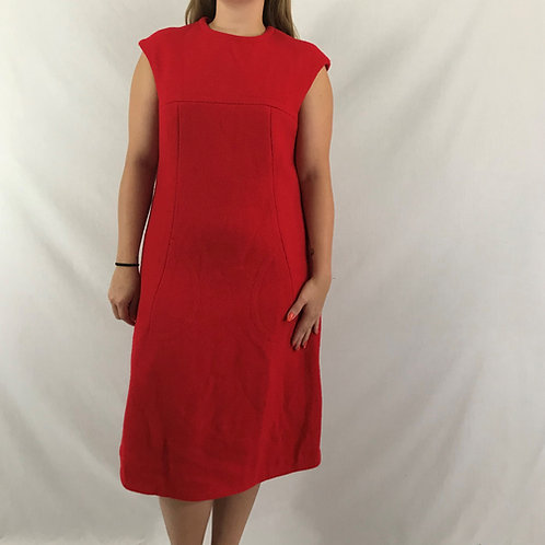 Red Wool Sleeveless Midi Dress View 1