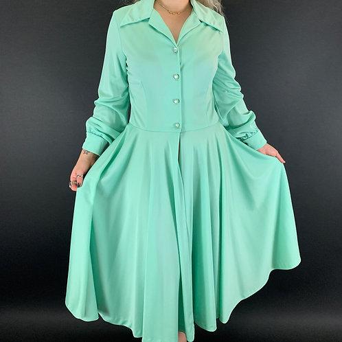 Shiny Mint Green Long Sleeve Dress View 1
