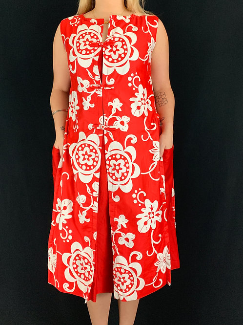 Red And White Hawaiian Floral Dress View 1