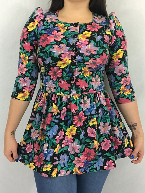 Floral Square Neckline Blouse With Back Waist Tie View 1