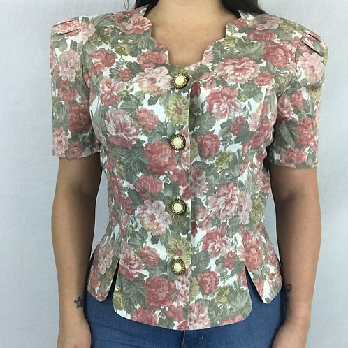 Floral Button Up Blouse With Scalloped Neckline View 1