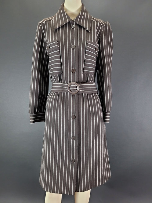 Dark Brown With White Stripes Long Sleeve Dress View 1