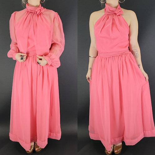 Blush Pink Formal Halter Dress With Matching Sheer Cape View 1