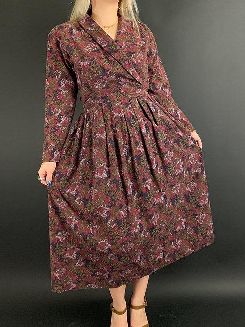Leaf Print Long Sleeve Midi Dress View 1
