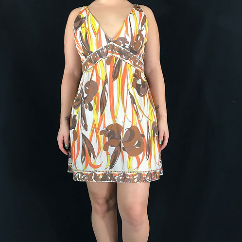 Earth Tones Abstract Print Silk Sheer Sleeveless Slip Dress View 1