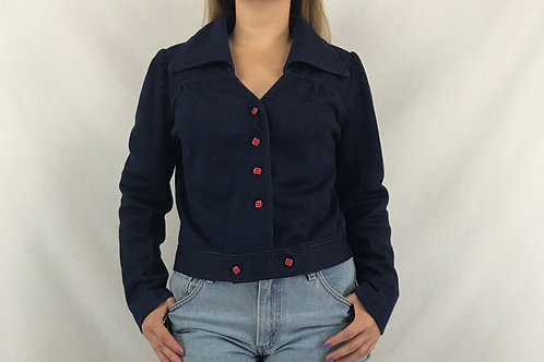 Dark Denim Jacket With Red Top Stitching View 1