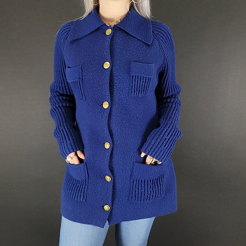 Navy Blue Ribbed Knit Cardigan Sweater View 1