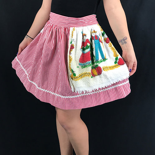 Red And White Striped Half Apron With Attached Towel View 1