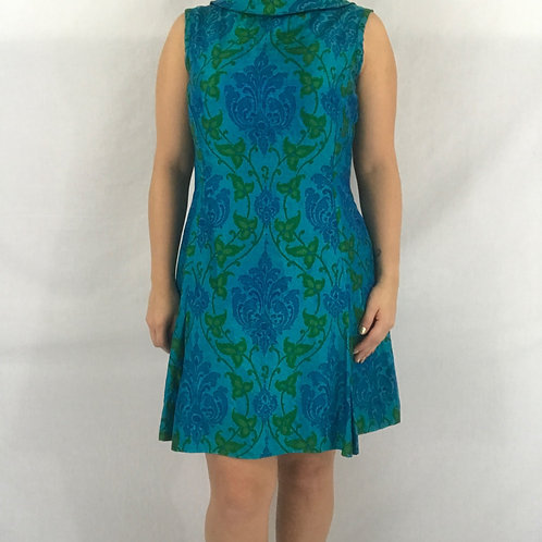 Blue And Green Ornate Brocade Sleeveless Shift Dress View 1