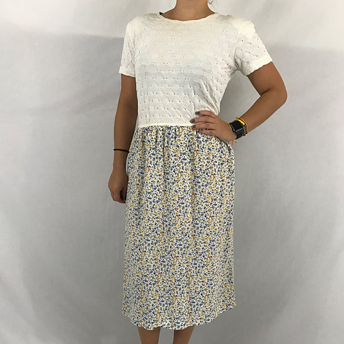 Cream Top Floral Skirt Midi Dress View 1
