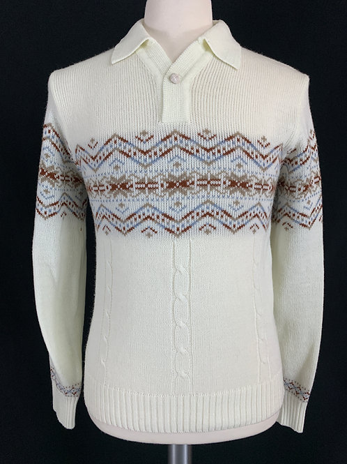 Mens Knit White Pullover Sweater View 1