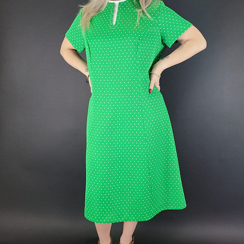 Green With White Polka Dot Shift Dress View 1