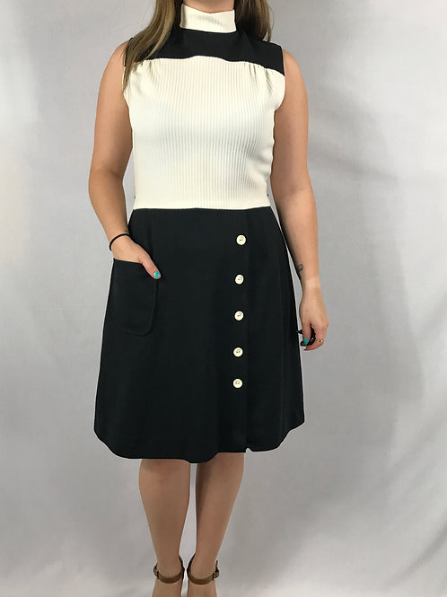 Black And White Ribbed Polyester Sleeveless Dress View 1