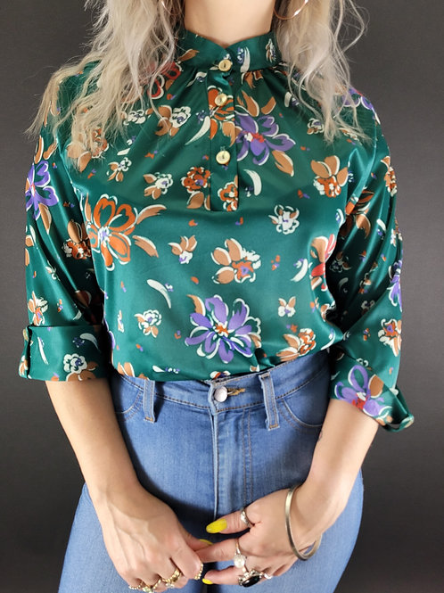 Teal Floral Polyester Blouse View 1