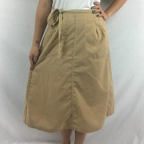 Tan Color Wrap Midi Skirt View 1