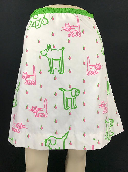 Bright Pink And Green Raining Cats And Dogs Skirt View 1