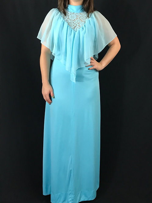 Baby Blue Lace Chiffon Capelet Maxi Dress View 1