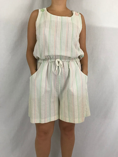 Pastel Rainbow Striped Romper View 1