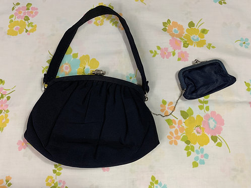 Black Evening Handbag With Attached Navy Blue Coin Purse View 1