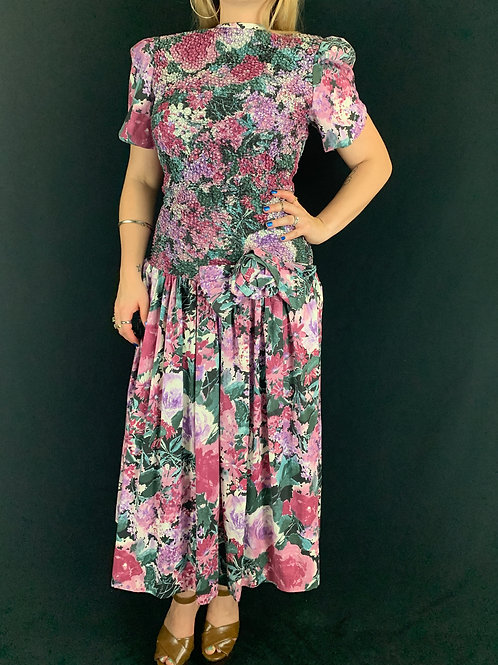 Watercolor Floral Drop Waist Dress View 1